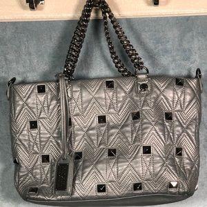 Badgley Mischka Grey Leather chain link Handbag